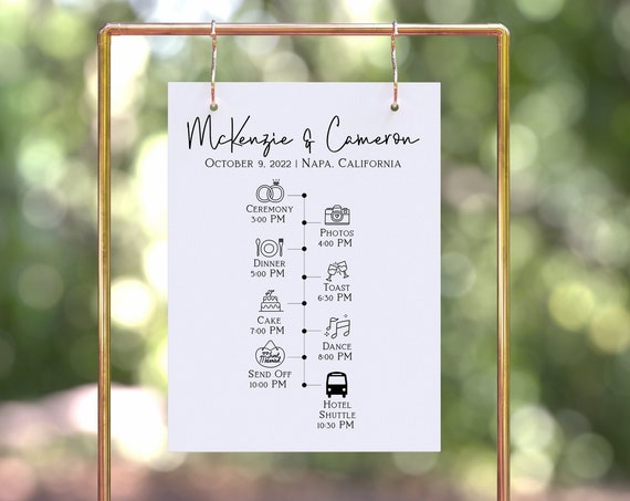 Wedding Day Timeline Sign, Welcome Sign, Wedding Sign, Ceremony Reception Itinerary  Template 100% Editable Corjl PPW508
