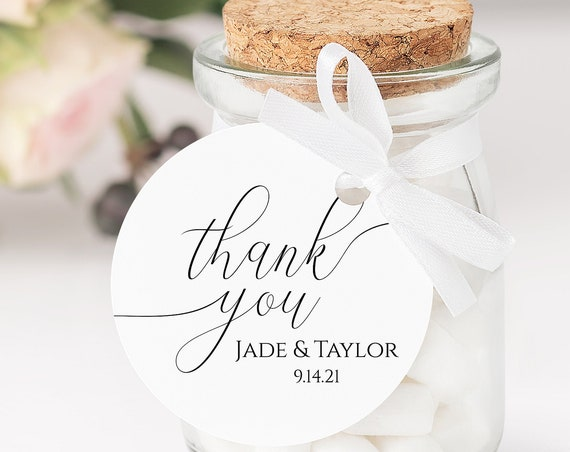 Round Wedding Tag Label, Bridal Shower Favor Sticker Template, Rustic Modern Elegant Design, Thank You, 100% Editable, Templett PPW0560