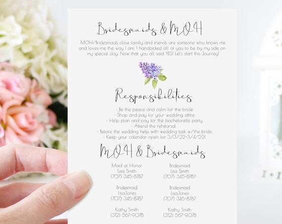 Lilac Bridesmaid Commitment Card Template, Bridesmaid MOH Agreement, Bridesmaid Proposal Box 100% Editable, Corjl PPW2021 SHAE-LPB