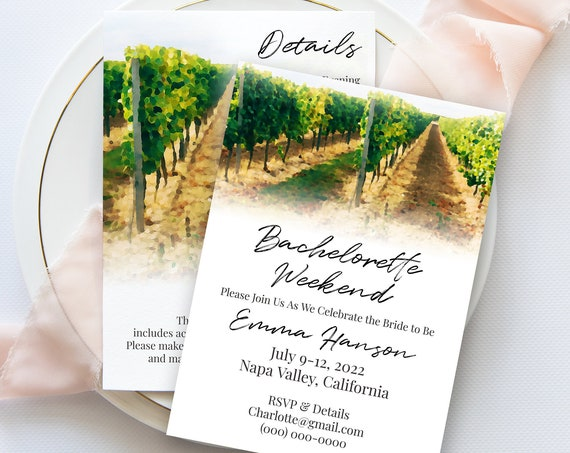 Napa Valley Vineyard Theme Bachelorette Party Invite and Details Template, Hen Party Invitation, Bridal Shower, Editable Template PPW22 BRIX