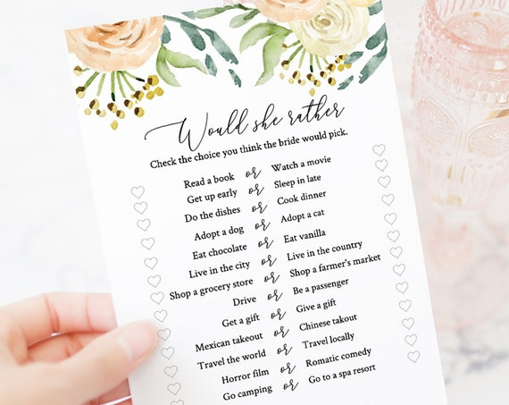 Blush Floral Would She Rather Bridal Shower Game, Editable Wedding Template, 100% Editable, Instant Download, Templett  PPW0225