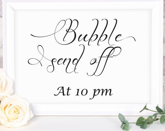 Wedding Send Off Sign ~ Bubble Sign ~ Wedding Sign ~ Reception Sign ~ Landscape Sign ~ Editable Template ~ Instant Download PDF ~ 110B