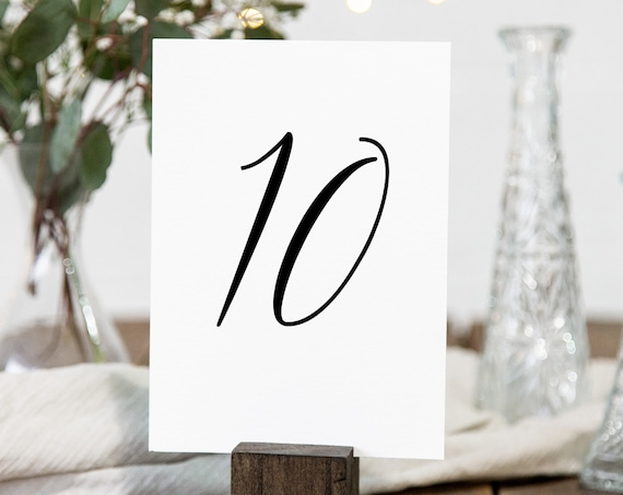 Simplistic Elegant Table Number Template, Flat and Tent Cards, 100% Editable Template, Templett PPW0550 Grace