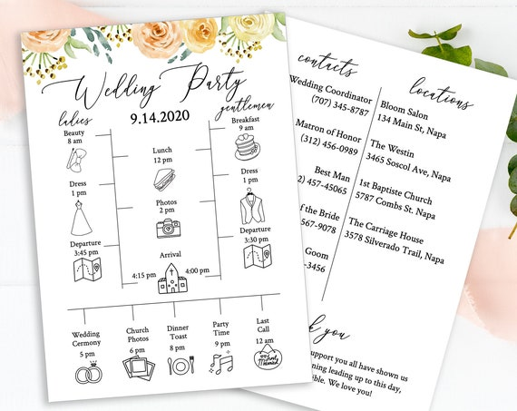 Wedding Party Timeline & Details Card, Groomsmen, Bridesmaid Itinerary, Agenda, 100% Editable Templett  PPW0225