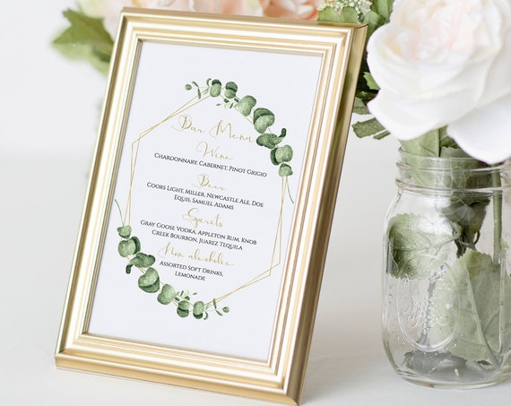 Greenery Wedding Bar Menu Template, Gold Geometric Reception Drink Menu Sign , 100% Editable, Templett PPW0445