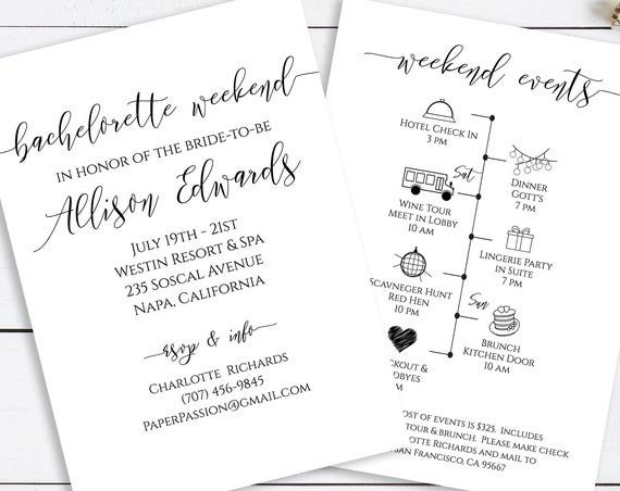 Bachelorette Weekend Invitation and Timeline, Bridal Shower Printable, Bachelorette Party 100% Editable, Templett PPW0550 Grace