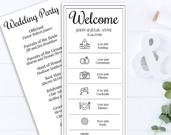 Wedding Program & Timeline, Event Schedule, Simple Cursive Script Design, 100% Editable, Templett PPW0570