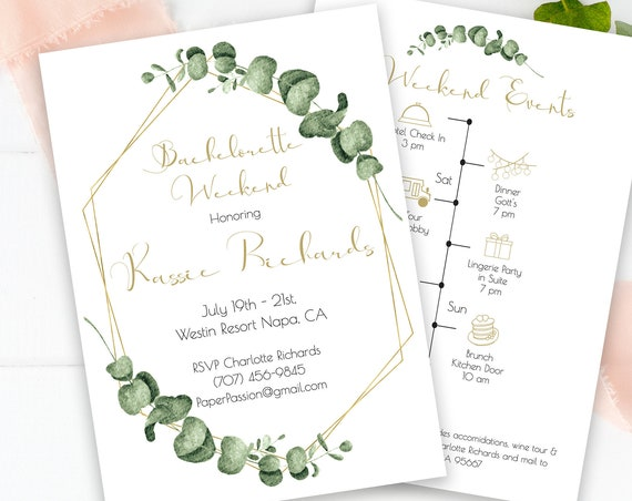 Greenery Bachelorette Party Invitation and Timeline Template, Gold Geometric Bridal Weekend Invite, 100% Editable, Templett PPW0445
