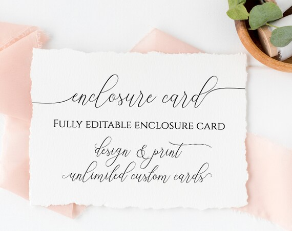 Custom Enclosure Card, Wedding, Bridal or Baby Shower Invitation Details, Simplistic Elegant Font Template 100% Editable, Templett  PPW0560