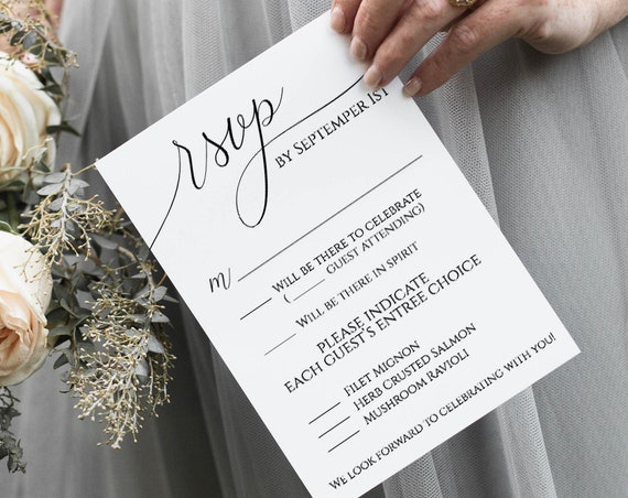 RSVP Card Template, Instant Download, DIY Wedding Details, Response Card, Minimalist, Rustic, Modern, 100% Editable, Templett PPW0560