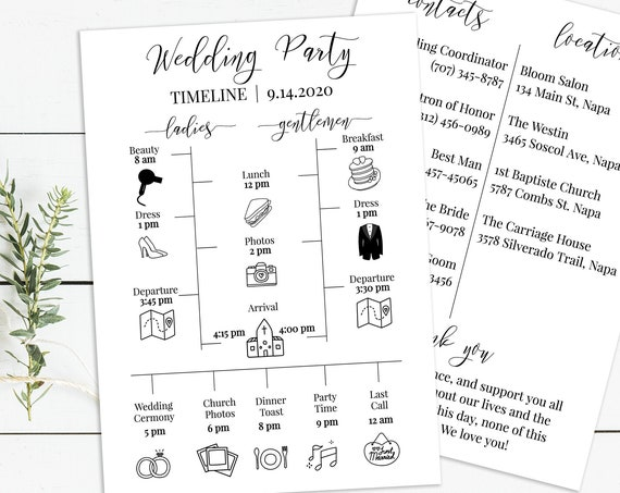 Wedding Party Timeline, Printable Wedding Day Schedule, Groomsmen Itinerary, Bridesmaid Agenda 100% Editable, Templett PPW0550