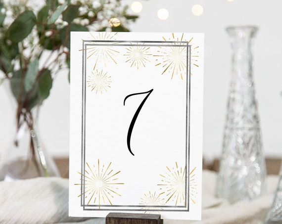 Gold Table Number Cards, Wedding Table Decor, Elegant Calligraphy, Table Seating, Sunburst Fireworks Editable Template, Corjl PPW-NY21