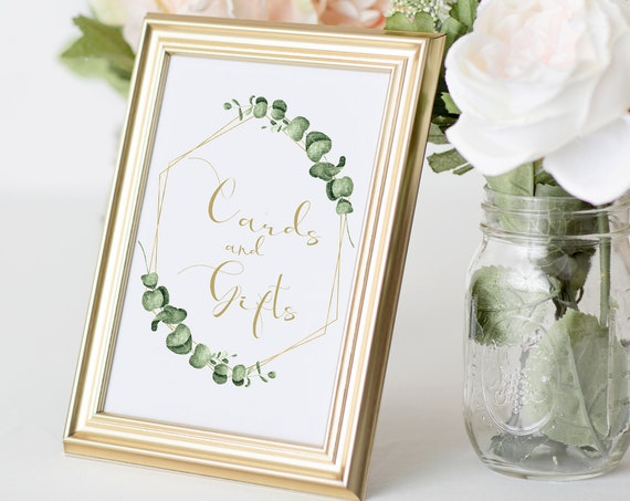 Greenery Wedding Cards and Gifts Sign Template, Gold Geometric Reception Table Printable, 100% Editable, Templett PPW0445