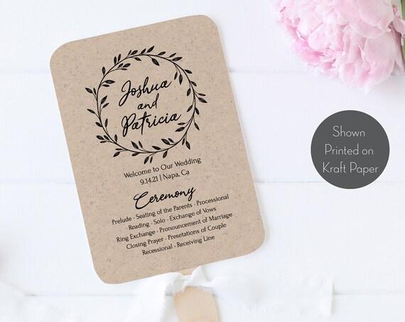 Rustic Fan Program Template, Bridal Printable, 100% Editable Text, Wedding Instant Download, Templett, DIY PPW0330