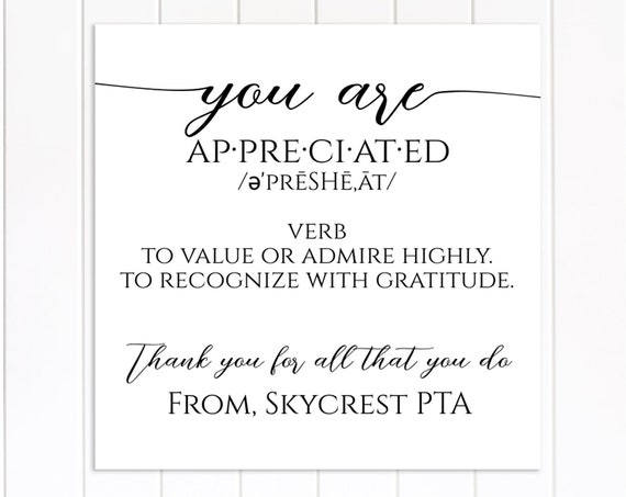 Teacher Appreciation Week Tag and Sign, Appreciated Definition Gift Tag Printable, Thank You Card, Teacher Gift Sign, Editable TAW-MAE16-A