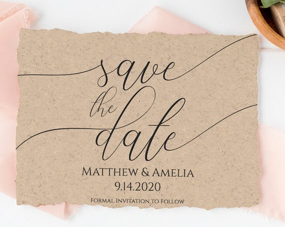 Wedding Save the Date Announcement, Simplistic Rustic Elegant Bridal Template 100% Editable, Templett  PPW0560