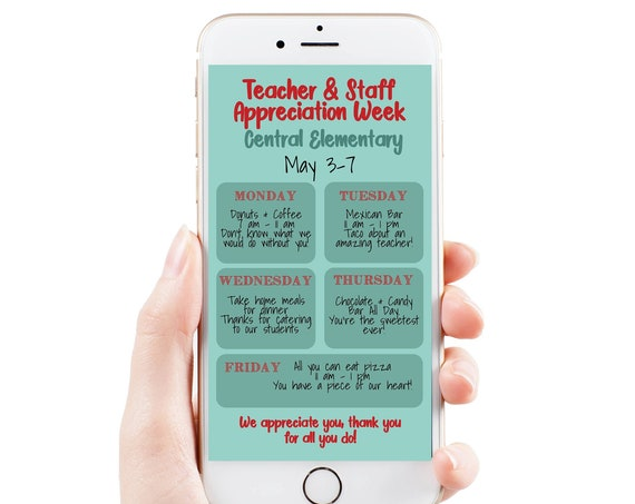 Virtual Teacher Appreciation Itinerary, Daily Events, Electronic Itinerary, Email or Text Schedule, Personalized Editable Template TAW155