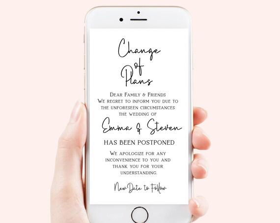 Change of Plans Announcement, Digital, Text Message Rescheduled, Cancellation, Postponement,  100% Editable, Corjl PPW508