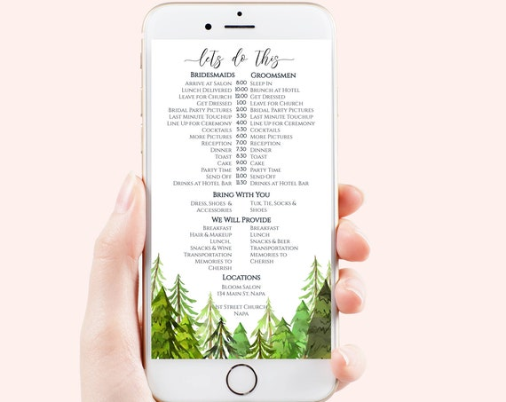 Itinerary, Electronic Wedding Party Timeline, Evite, Phone Text Invite, Editable Text, 100% Editable Template, Corjl LINDEN PPW410