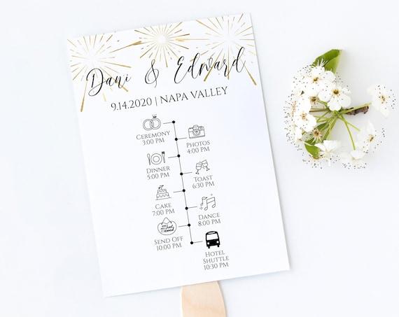 Gold Frame Wedding Fan Program Timeline , Wedding Order of Events, Ceremony Program Wedding Party Editable  PPW-NY21