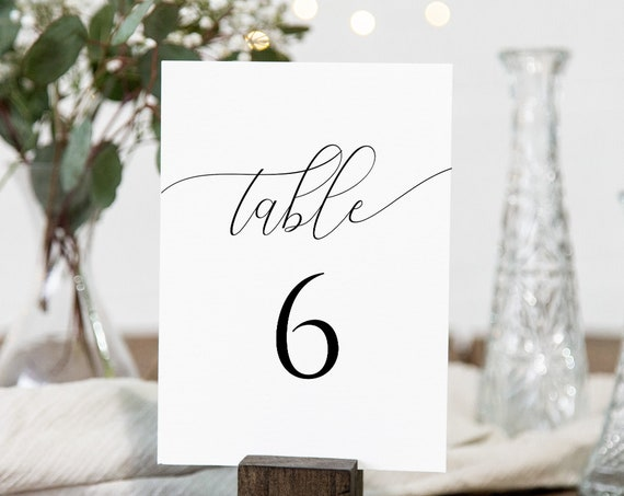 Wedding Table Number Cards, Event Seating, Elegant Calligraphy Display 100% Editable Template, Templett PPW0560