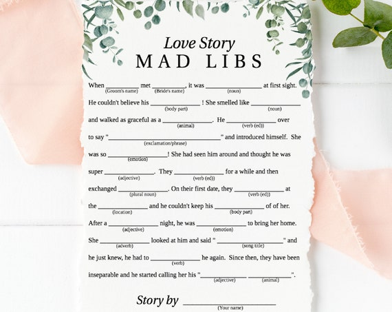 Greenery Wedding Love Story Mad Libs Game Template, Bridal Shower Printable 100% Editable, Templett PPW0440