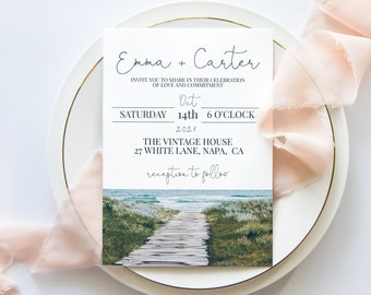 Beach Wedding Invitation Template, Ocean Invite, Destination Wedding, Wedding Editable Printable PPW18 HAMPTON