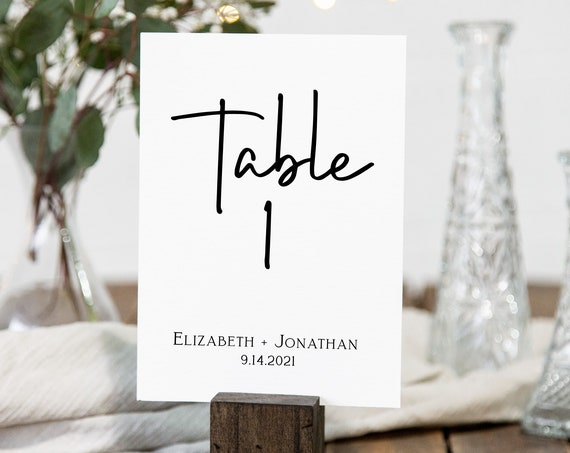 Wedding Table Number Card, Table Seating, Event Seating, Table Numbers 100% Editable Corjl PPW508
