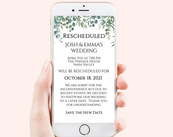 Wedding Date Rescheduled Announcement, Digital, Text Message Rescheduled, Cancellation, Postponement, Greenery, Editable, Corjl PPW0440