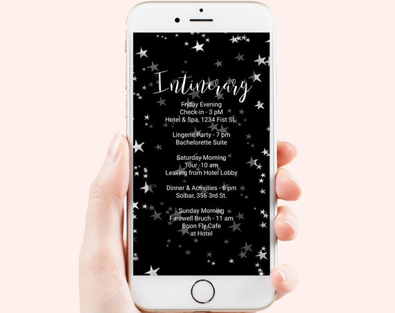Electronic Itinerary Template, Bachelorette, Event Schedule, Wedding Events, Reunions, Text Message, Email, Editable PPW86 STARS