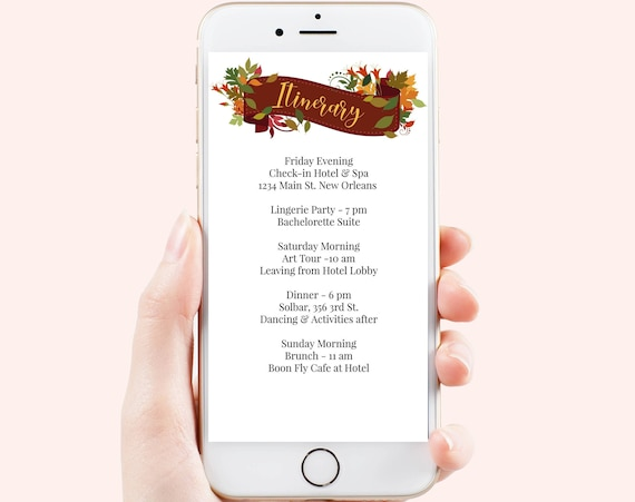 Floral Banner Itinerary, Fall Electronic Invitation, Autumn Editable Agenda, Thanksgiving Timeline, Event Schedule Template HARVEST-2021C