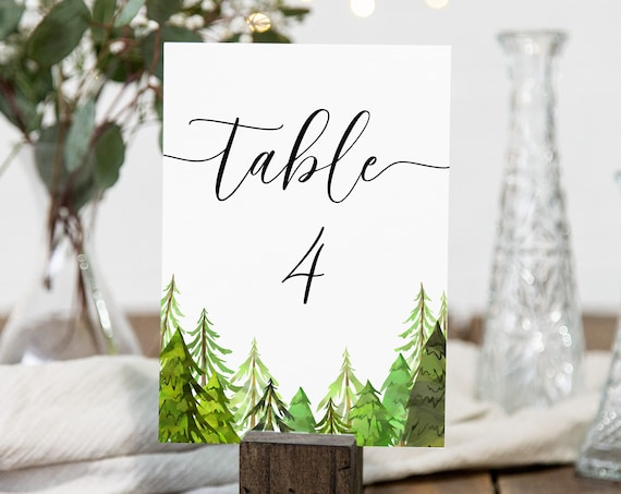 Pine Tree Table Number Template, Printable Table No. Cards , Wedding Seating, Editable Template, Corjl LINDEN PPW410