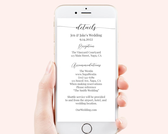 Event Details, Electronic, Evite, Digital, Text Message, Email, Wedding, Bachelor, Bachelorette, Information Sheet 100% Editable PPW16 MAE