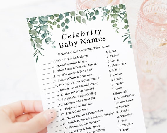 Greenery Celebrity Baby Names Game Template, Baby Shower Printable 100% Editable, Templett PPB0440