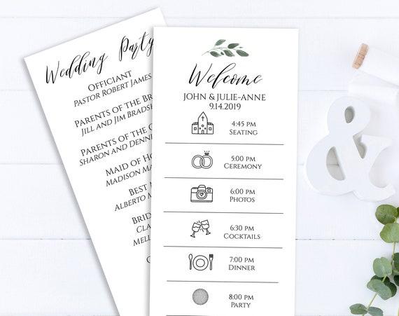 Wedding Program Timeline Card, Wedding Icon Timeline, Itinerary, Agenda, Schedule 100% Editable,  Templett PPW0450