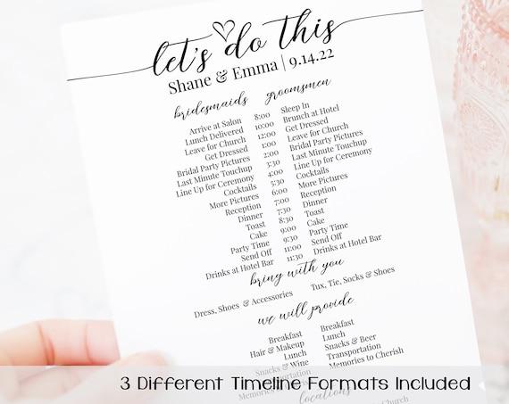 Wedding Party Timeline, Printable Wedding Day Schedule, Groomsmen Itinerary, Bridesmaid Agenda 100% Editable, Corjl PPW16 MAE