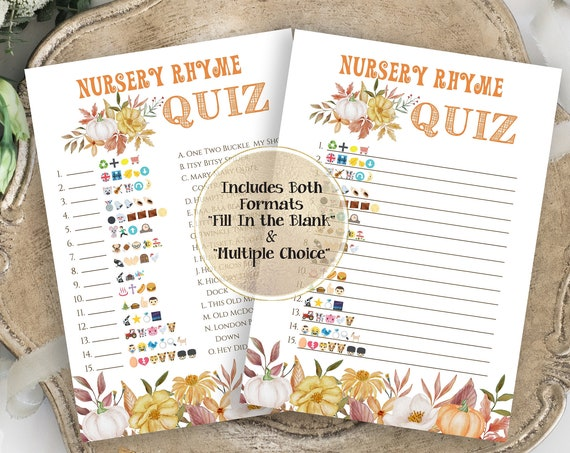 Harvest Pumpkin Emoji Nursery Rhymes Quiz ~ Fall Baby Shower ~ Gender Neutral Pumpkin Design ~ Printable Game PPB600
