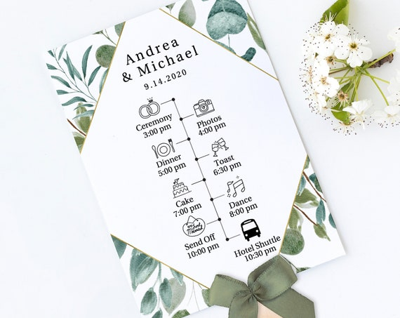 Greenery Wedding Program Fan with Timeline, Fan Template Printable, Wedding Day Schedule, 100% Editable, Templett PPW0440