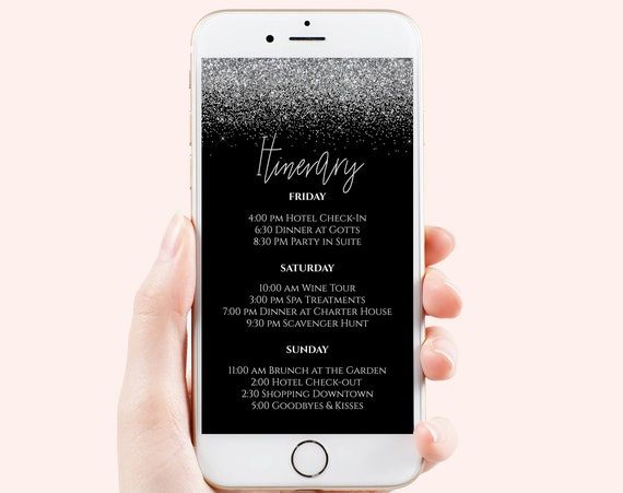 Silver Itinerary, Hen Party, Electronic Invitation, Bachelorette, Bridal Shower, Silver Glitter Event, Editable Template, PPW90SilverBlack