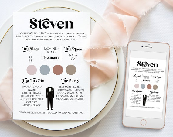 Retro Groomsman Information Card, Printable Best Man Details, Modern Font Wedding Party Detail Cards Editable PPW74