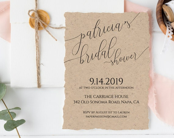 Bridal Shower Invitation, Simplistic Rustic Elegant Bridal Template 100% Editable, Templett  PPW0560