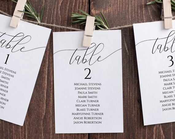 Wedding Seating Table Cards, Poster, Seating Chart, Elegant Calligraphy Display 100% Editable Template, Templett PPW0560