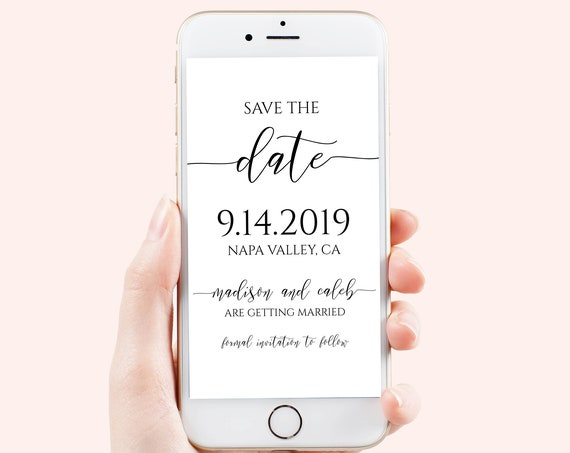 Save the Date, Electronic Invitation, Evite, Digital, Text Invite, Editable Phone Invite, 100% Editable Template, Corjl PPW0550