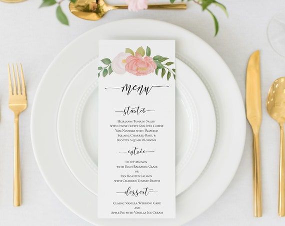 Pink Floral Watercolor Menu Template, Wedding Menu Card Printable, 100% Editable, Templett PPB0230