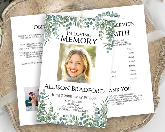 Celebration of Life Program, Funeral Order of Events, Greenery Printable Template, Editable Corjl Template PPF440