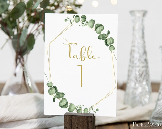Greenery Wedding Table Number Template, Gold Geometric  Table Decor, 100% Editable, Templett PPW0445