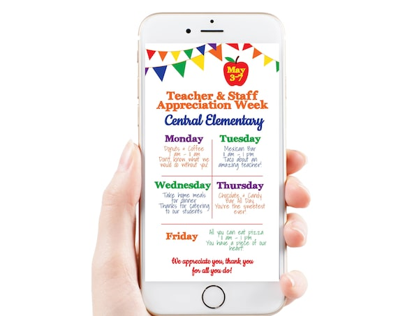 Virtual Teacher Appreciation Itinerary, Daily Events, Electronic Itinerary, Email or Text Schedule, Personalized Editable Template TAW125
