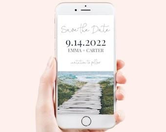 Save the Date, Electronic Invitation, Evite, Digital, Text Message, Editable Phone Invite, Beach Boardwalk, Editable Template PPW18 HAMPTON