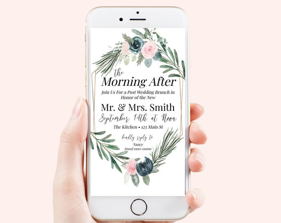 Post Wedding Brunch Floral Pink, The Morning After Electronic Invitation, Evite, Digital, Text Message, Editable Invite, Gold BRIAR-C2