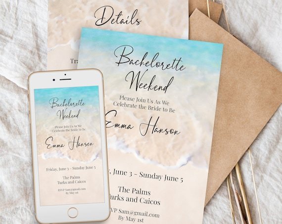 Beach Bachelorette Weekend Invitation Template, Bachelorette Party, Printable and Text Message Format, Blush, 100% Editable PPW20 BREE